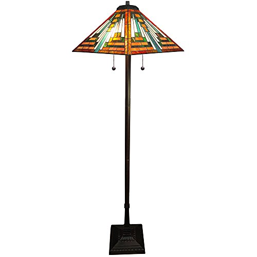 "Whse of Tiffany 908#+BB-171 Shay 2-Light Tiffany-Style Floor Lamp, 16"", Orange"