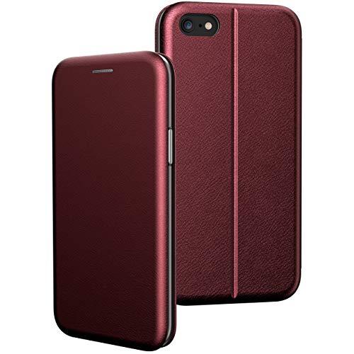 BYONDCASE iPhone 6s Plus Hülle Rot, iPhone 6 Plus Handyhülle [Deluxe Leder Flip-Case Klapphülle] Fullbody 360 Grad Rundumschutz Ultra Slim kompatibel mit dem iPhone 6 Plus Case