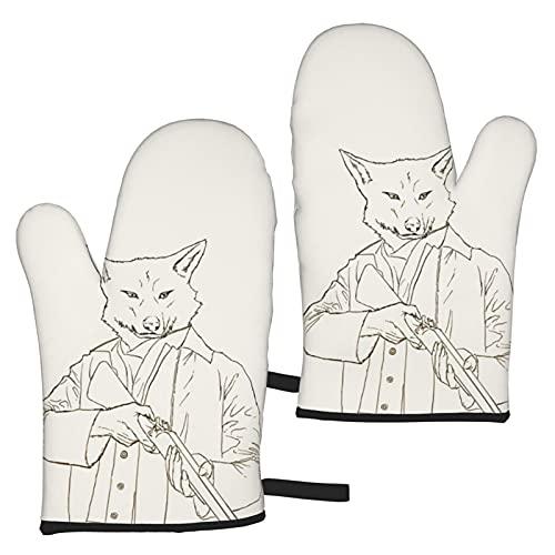 HBAUAJIA Guante de horno Wolf, guantes de barbacoa, guantes de horno, protección de manos contra la parrilla, barbacoa, fuegos, microondas y otros trabajos calientes en la cocina, 2 piezas