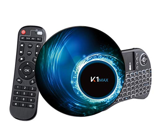 Android 10.0 TV Box 【4G + 32G】 con Mini Teclado teléfonos inalámbricos RK3318 Quad-Core 64bit Android TV Box, Wi-Fi-Dual 5G / 2.4G, BT 4.0, 4K * 2K UHD H.265, USB 3.0 Smart TV Box miniatura