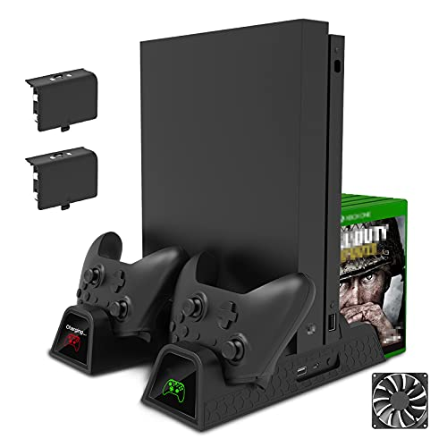 FastSnail Vertical Stand Compatible with Xbox One with Cooling Fan, Cooler and Controller Charging Stand Compatible with Xbox One X,Compatible with Xbox One S with 2 Rechargeable Battery