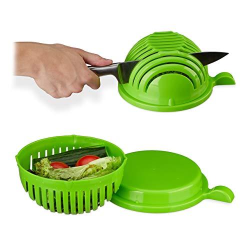 Relaxdays, grün Salatschneider, Schüssel u. Deckel, BPA-frei, spülmaschinenfest, Gemüseschneider, Obst/Salat schneiden, Standard