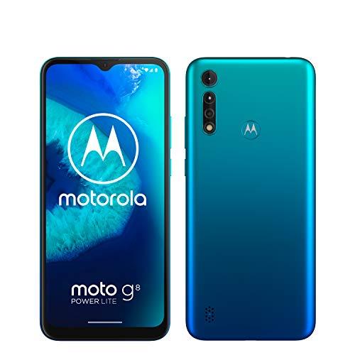 moto g8 power lite Dual-SIM Smartphone (6,5 Zoll-Max vision-HD+-Display, 16-MP-Hauptkamera, 64 GB/4 GB, Android 9) inkl. Schutzcover Türkisblau