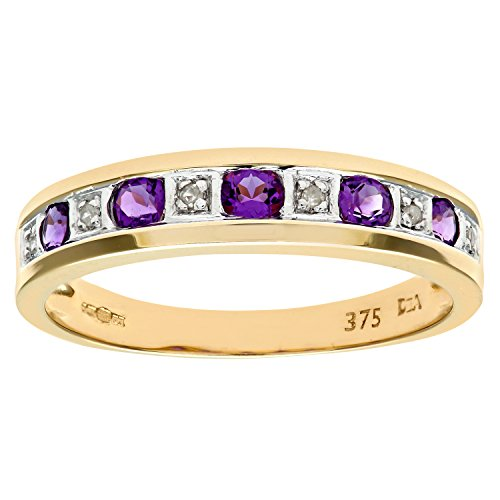 Naava Women's Eternity Ring, 9 ct Yellow Gold Diamond and Amethyst Ring, Channel Set