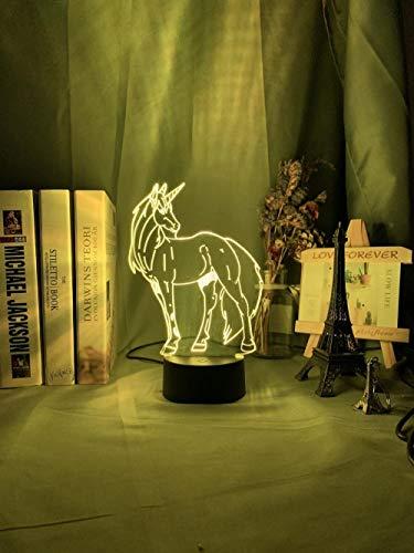 3D lámpara de noche led luz de noche 3D luz animal bebé noche luz decoloración USB batería noche luz niños niños niñas dormitorio decoración noche regalos erjie