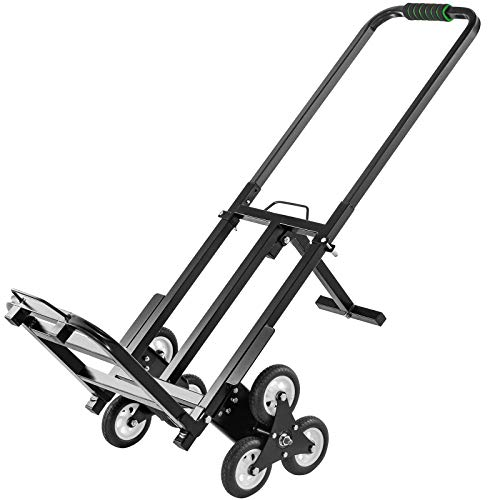 VEVOR Stair Climbing Cart 330lbs Capacity, Portable Folding Trolley with 6 Wheels, Stair Climber Hand Truck with Adjustable Handle for Pulling, All Terrain Heavy Duty Dolly Cart for Stairs