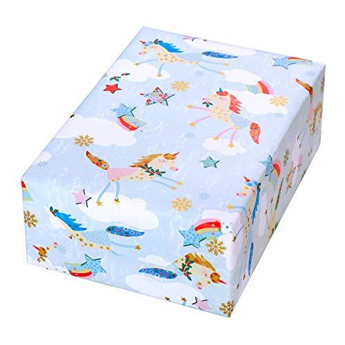 Geschenkpapier Weihnachten Kinder 3 Rollen, Motiv Einhorn bunt mit gold-Akzenten. Für Weihnachten...