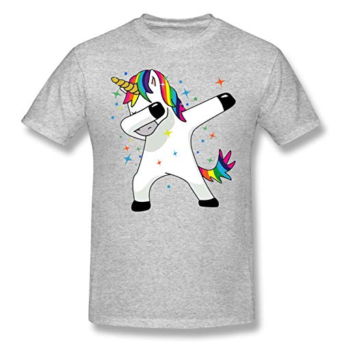 Funny Magic Unicorn Men Standard Tee Gray 6XL