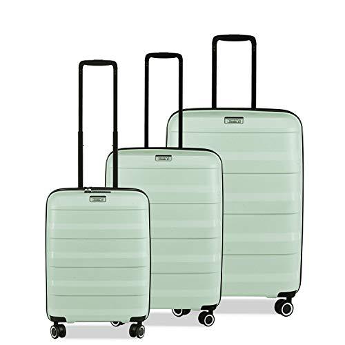 STRATIC Straw - Juego de 3 Maletas rígidas con Ruedas y 4 Ruedas, candado TSA (S, M, L), de plástico ecológico, Color Verde