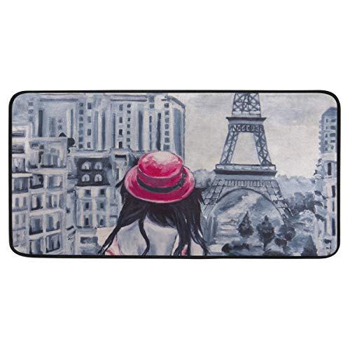 Bardic anti-slip deurmat Art Olie-Schilderij Beeld Romantisch Meisje Parijs Deurmat Machine Wasbare Slaapkamer Mat Voor Leven Dineren Kamer Slaapkamer Keuken,50.8x99cm