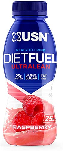 USN Diet Fuel Ultralean Ready to Drink High Protein Shake, 8 x 310ml, Raspberry
