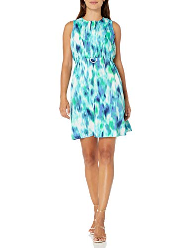 ELLEN TRACY Women's Petite D-Ring A-line Dress, Waves/Ink Chambray, 14P