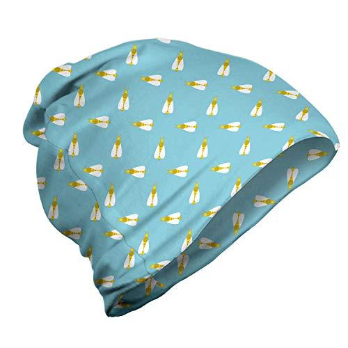 ABAKUHAUS Bijenkoningin Unisex Muts, Gestreepte zoemende vliegen, voor Buiten Wandelen, Sky Blue Dark Yellow