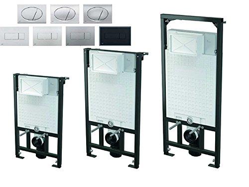 WC Vorwandelement inkl. Drückerplatte zur Eckmontage - mit Styropor isolierter Unterputzspülkasten Hänge-WC Bauhöhen 85 100 120 cm, Größe:120cm, Drückerplatte:eckig-M370 - weiß