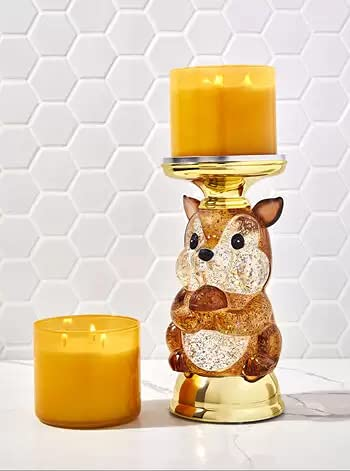 Bath & Body Works Candle Holder Compatible and White Barn 3-Wick Candles - 2021 Autumn - Select Your Favorite! (Candle NOT Included) - Water Globe Squirrel Pedestal