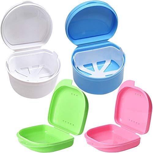 Zahnspangendose Zahnprothesenbecher Zahnspangenbox Prothesendose Prothese Teeth Aufbewahrungsbox Falsche Zähne Reinigungsbox Mit Hängenden Sieb (Blau, Weiß, Rosa, Grün)