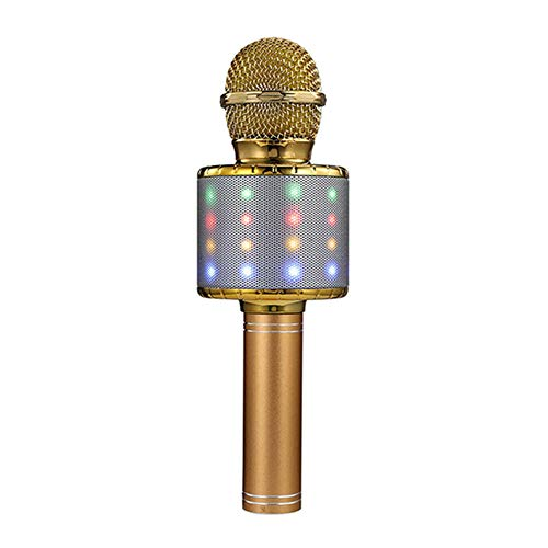 Glomixs 4 In 1 Wireless Bluetooth Karaoke Mini Microphone, Portable Handheld Controllable LED RGB USB Mic Speaker Machine Christmas Birthday Home Party for All Smartphone