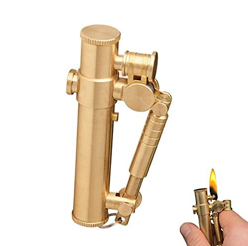 PENNY73 Ottone Trench Cherosene Benzina Accendino Vintage Meccanico Automatico creatività Accendino Antivento per Uomo papà Marito (Carburante Non Incluso)