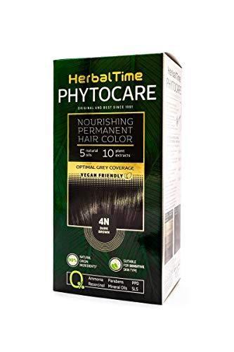 Herbal Time Phytocare Tinte permanente y nutritivo para cabello sin amoniaco, sin PPD, sin SLS, sin parabenos, Color Marrón Oscuro 4N