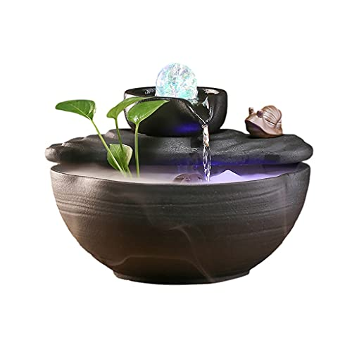 SFF Indoor Fountain Desktop Fountain Ornaments Decor Atomizing Humidifier Spinning Ball for Home Office Bedroom Desk Décoration Desk Decor