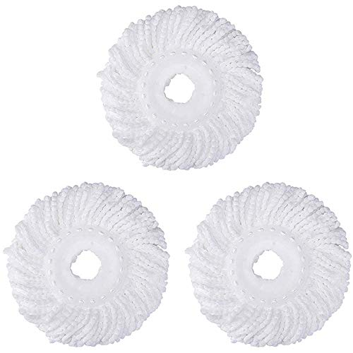 3 Pack Mop Head Replacement for Hurricane Spin Mop Replacement Head Microfiber Mop Head Refills Round Shape Standard Size