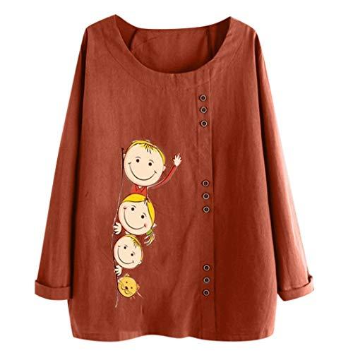 HULKY Tuniques Femme Grande Taille Tee Shirt Pull Blouse Chemisier Femme Chic T-Shirt en Lin en Coton À Manches Longues À Col Rond Et À Manches Longues À Grande Taille pour Femme