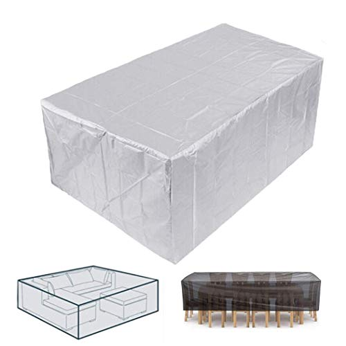 XJZKA Garden Furniture Covers 190x125x80cm Waterproof Snow Dust Windproof, Anti-UV Patio Set Cover Rectangular for Cube Set, Patio, Outdoor, Gray