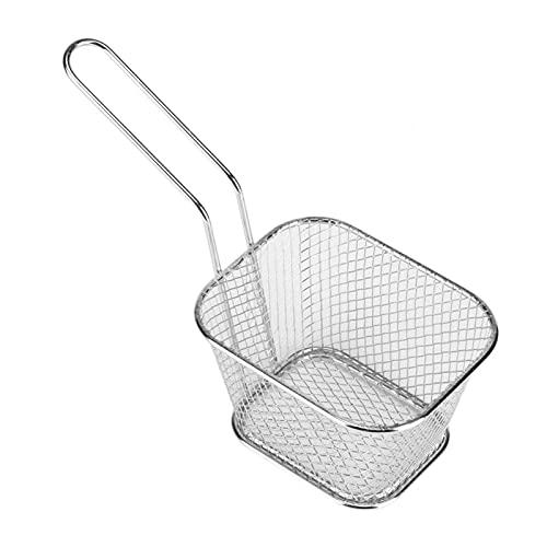 Mini cesta cuadrada para patatas fritas, soporte para patatas fritas de acero inoxidable para patatas fritas/aros de cebolla/alitas de pollo/cocina/restaurante/fiesta/barbacoa