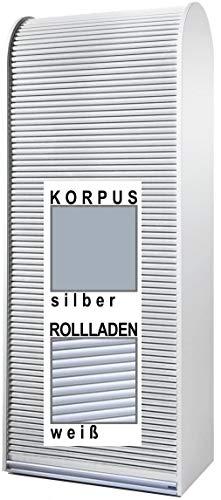 Klenk Dancer Collection - Aktenschrank - Korpus: Silber/Rollladen: weiß