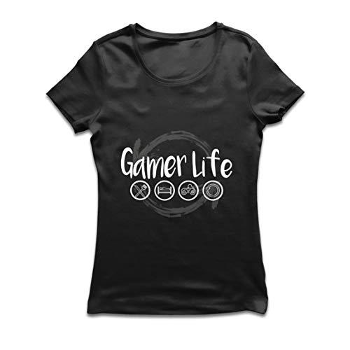 lepni.me Camiseta Mujer Vida de Jugador Regalo para el Jugador Geek (Small Negro Multicolor)
