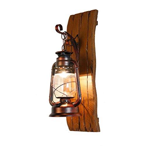QXX Lampe de Mur en Verre Vintage sculptée à la Main Lampe de Fer forgé en Bois American Style