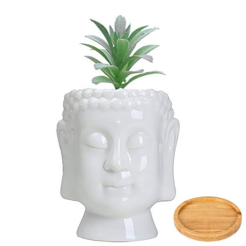 JIAEN Ceramic Pot with Drainage Tray, 6 inch Buddha Head Planter Pots for Indoor Plants