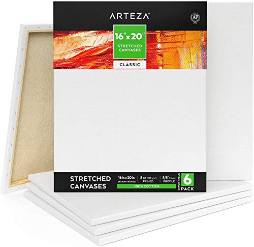 Arteza 16x20 Inch Stretched Canvas, Classic Pack of 6,...