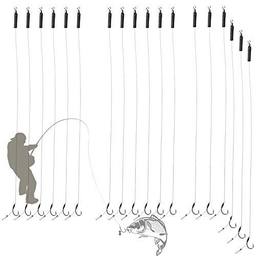 GZLCEU 18 Stück 6#/8#/10# Edelstahl Angelhaken Karpfen Haken Vorfach Geflochtene Schnur Schonhaken,Handgefertigt Karpfenrigs Angelnzubehör