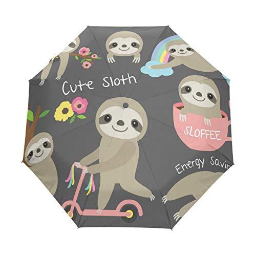 Bigjoke Regenschirm, 3-Fach faltbar, automatischer Öffnung, mit niedlichem Faultier, Blumendruck, Winddicht, leicht, kompakt für Jungen, Mädchen, Männer, Frauen