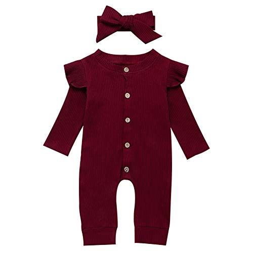 Geagodelia Baby Mädchen Jungen Strampler Spieler Babykleidung Schlafstrampler Neugeborene Kleinkinder Weiche Kleidung Outfit Babystrampler T-34929 (0-6 Monate, Weinrot)