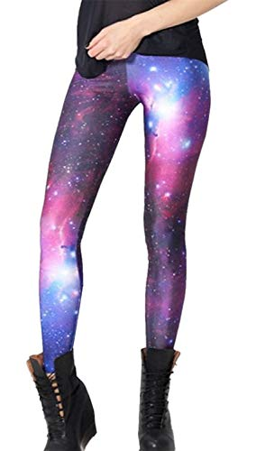 Tamskyt Womens Galaxy Star Printed High Waist Leggings Pants Full-Length Yoga Workout Leggings (Purple)