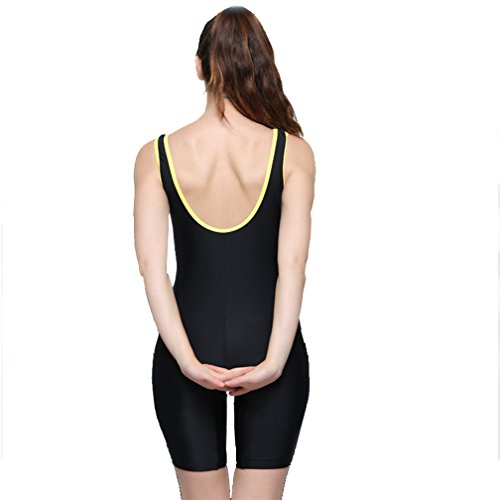 Modeokker Women Swimsuit Swimming Costume One Piece Sport Flat Seams Athletic Swimsuit With Chest Pads(UK10 black)