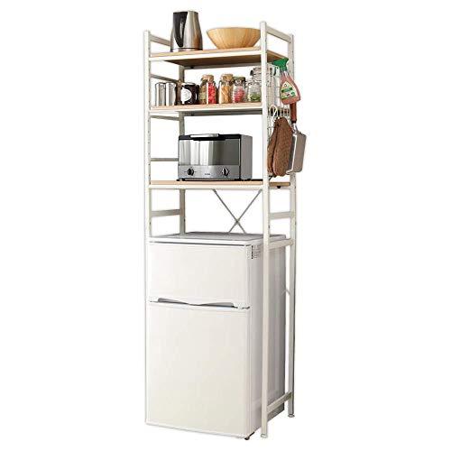 冷蔵庫ラック 3段 幅59.5×奥行41×高さ180.5cm キッチン収納 ナチュラル -