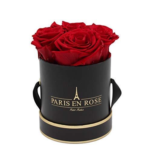 PARIS EN ROSE Rosenbox Petit Palais Bijou | 3 Jahre haltbar | Schwarz-Gold mit bordeauxroten Infinity Rosen | Flowerbox mit 4 konservierten Blumen