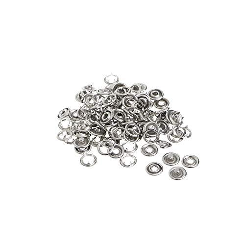 100 X Druckknöpfe - Silberfarben - 9.5mm Größe Nickelfrei Messing - Complete Pack Druckknöpfe für Baby Kleidung und Lätzchen von Trimming Shop