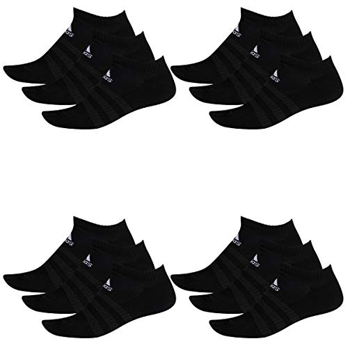 adidas 12 Paar Performance No Show Sneaker Socken Unisex Kurzsocke, Farbe:Black, Socken & Strümpfe:43-45