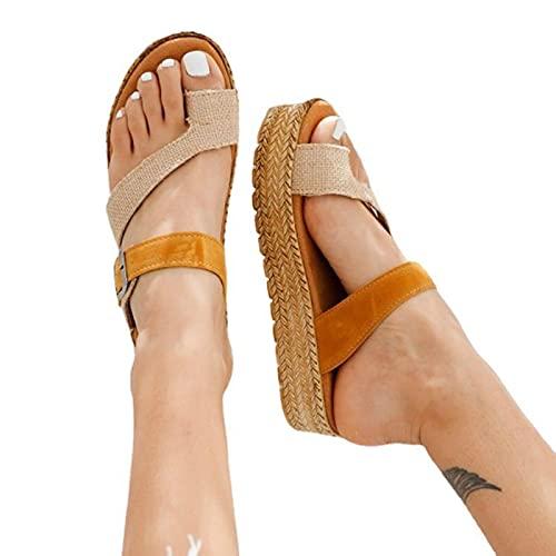 DYHOZZ Sandalias Ortopédicas Correctoras de Juanetes para Mujer, Sandalias de Plataforma Cómodas, Sandalias de Playa de Verano Informales con Soporte de Arco, Sandalias Planas para Mujer