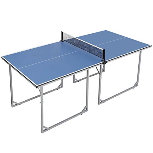 Oteymart Preassembled Table Tennis Table 6'x3' Folding Table Indoor Outdoor Mid-Size Regulation Portable Ping Pong Table w/Net for Home