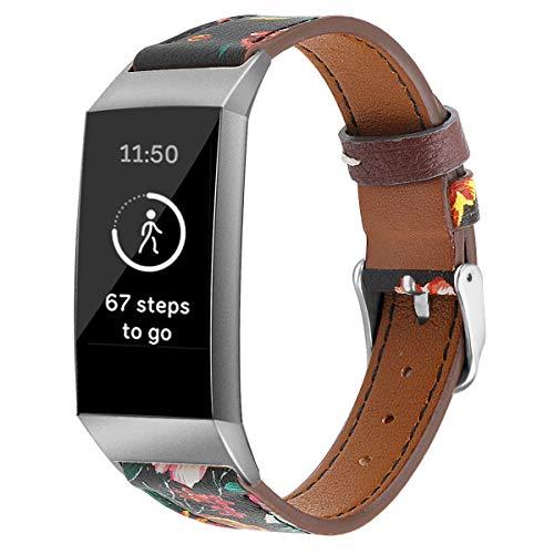Correas de Reloj de Cuero Compatible con Fitbit Charge 4 / Charge 4 SE/Charge 3 SE/Charge 3, Classicase Bandas de Reloj de Piel de Becerro auténticas de la Vendimia Hombres Mujeres (Pattern 8)