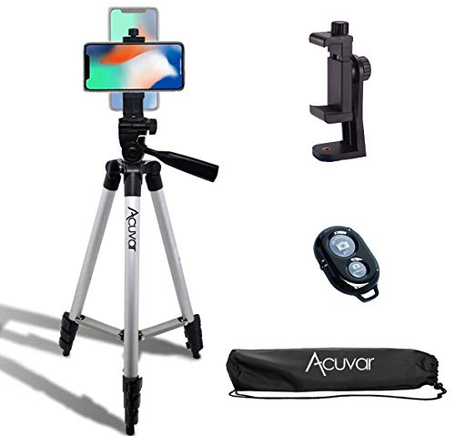 """Acuvar 50"""" Smartphone/Camera Tripod with Rotating Mount & Wireless Camera Remote. Fits All Smartphones iPhone 12 Max, 11 Pro Max, 11 Pro, 11, Xs, Max, Xr, X 8, 8+, 7, 7 Plus, Android Note 10"""