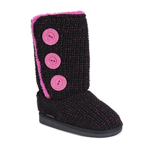 MUK LUKS Girl\'s Malena Boots-Black/Pink Fashion, 13
