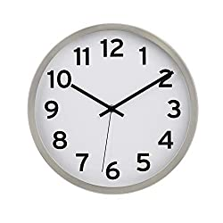 AmazonBasics 12 Numbered Wall Clock, Nickel