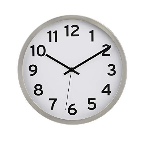 AmazonBasics - Reloj de pared con números, 30,5 cm, níquel
