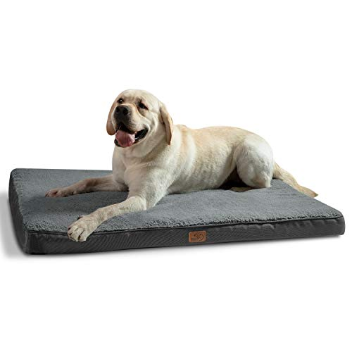Bedsure Extra Large Dog Bed for Small, Medium, Large Dogs/Cats Up to 100lbs - Orthopedic Egg-Crate Foam with Removable Washable Cover - Water-Resistant Pet Mat for Crate, Grey